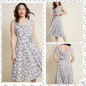 Vintage gray polka dot midi dress